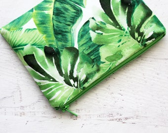 Tropical leaf zipper pouch - makeup bag - cosmetics bag - palm leaf bag - travel gear - palm springs bag - small travel bag - zip pouch