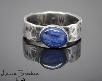 Kyanite and Organic Textured Sterling Silver Ring with Personal Message