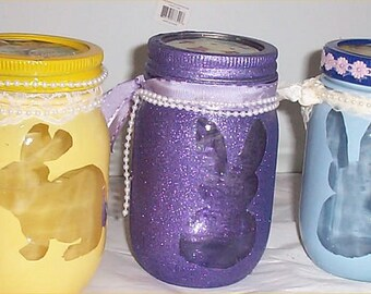Easter Mason Jar Candy Dishes Rabbits 3 With Ribbons Pearls Use for Candle Also