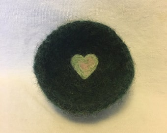 Green Valentine Felted Ring Bowl