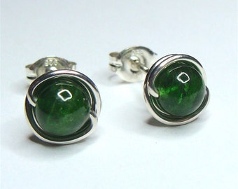 Chrome Diopside Studs 5.5mm Sterling Silver Chrome Diopside Earrings Green Chrome Diopside in Sterling Silver Stud Earrings