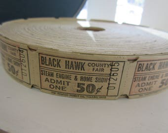 12 Vintage Black Hawk Carnival Tickets for altered art mixed media
