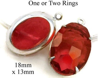 Red Framed Glass Pendants - Earring Jewels - 18mm x 13mm Oval Glass Beads - Rhinestones - Sheer - Glass Gems or Jewels - One Pair