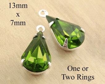 Olivine Green Glass Beads, Pear Teardrop, 13mm x 7mm, Silver Settings, Brass Settings, One or Two Rings, Framed Glass Gems, One Pair