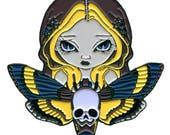 Moth Queen Collectible Enamel Pin by Jasmine Becket-Griffith Art lapel pin button skull moths fairy acherontia atropos