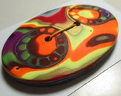 Large Oval Hancrafted Polymer Clay Button
