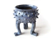 Ceramic Pot - Bright Blue Grouchy Planter Pot with Spikes and Sculpted Feet - Spiked Succulent Planter