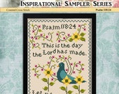 Counted Cross Stitch Pattern Inspiration Sampler Psalm 118:24
