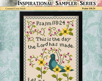 Counted Cross Stitch Pattern Inspirational Sampler Psalm 118:24