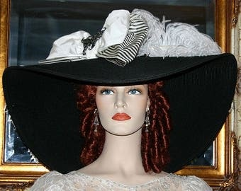 "Kentucky Derby Hat Edwardian Titanic Hat - Triple Crown - 24"" Brim"