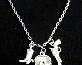 Cowboy Necklace, Cowboy Hat and Gun Necklace, Cowgirl Necklace, Western Gift, Country Necklace, Cowboy/Cowgirl Jewelry, Free Shipping In USA