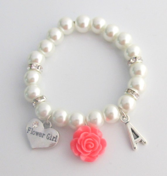 Flower Bracelet Personalized Flower Girl Bracelet,Child's  Pearl Bracelet,Flower Girl Gift, Pearl Flower Girl Jewelry, Free Shipping In USA,