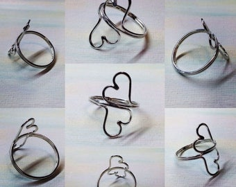 On Sale Open Heart Silver Ring, Double, Twin, 2, Open Hearts, Argentium Sterling Silver Ring, Low Profile Ring, size made to order by LoveTh