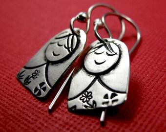 Matryoshka Earrings - Sterling Silver dangle earrings - Russian Doll Earrings Stamped Silver