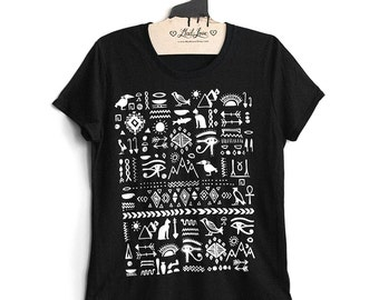 Large- Black Tri-Blend Tee with Egyptian Screen Print