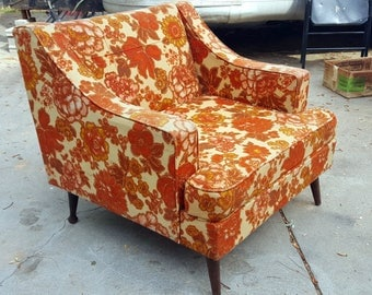 Mid Century Modern Floral Upholstered Armchair with Wooden Legs