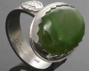 CLEARANCE. Nephrite Jade Ring. Sterling Silver. Leaf Pattern. Genuine Jade. Ready to Ship. Size 7. s13r015