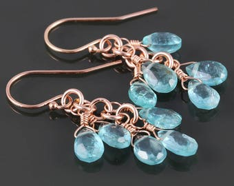 Blue Apatite Cluster Earrings. Five Stones. Rose Gold Filled Ear Wires. Genuine Gemstones. s17e073
