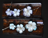 RESERVED bobby pin set. Wisteria and turquoise small kanzashi on silver pins.