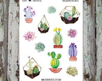 Watercolor Bullet Journal Stickers  - Succulent Planner Stickers - Cactus - deco - bujo