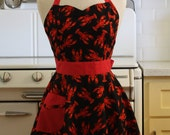 Retro Full Apron Sweetheart Neckline Lobsters on Black - BELLA