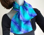 Ponytail Scarf, Small Neck Scarf, Emerald Teal Purple, Handpainted Silk, Teen Girl's Scarf, One of a kind, Jossiani, Handmade, ready to ship