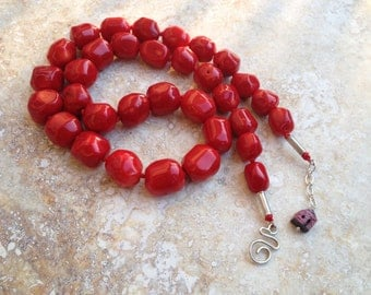 coral necklace, red, long necklace
