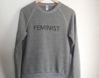 ON SALE NEW, Ready to Ship, Feminist Crew Neck Sweatshirt, Heather Gray, Fleece, Anna Joyce, Portland, Or