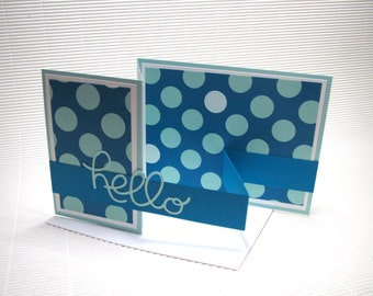 Hello card handmade stamped fancy-fold double z card fun blue polka dot paper greeting  party supplies