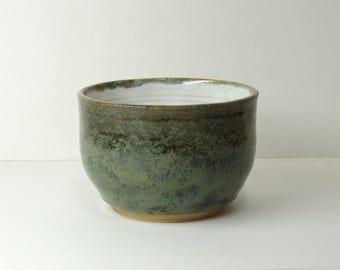 Hand Thrown Stoneware Bowl, Greens, White Horse Pottery