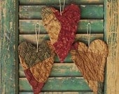 3 Primitive Heart Ornaments, Rustic Tattered Hearts, Farmhouse Decor, Antique Quilt Hearts, Claret Blue White Tan - READY TO SHIP