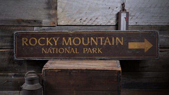 Rocky Mountain National Park Arrow Wood Sign Personalized