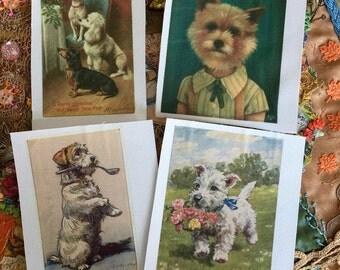 Dog Image on Silk Vintage Image Silkie for Embellishing Crazy Quilting Scrapbooking Multi Media