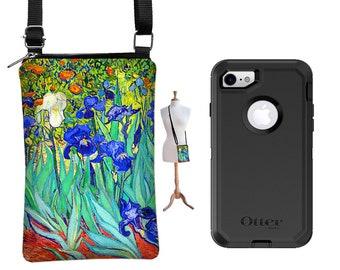 iPhone 6 Plus Case fits Otterbox,  iPhone 7 Plus Phone Purse,  Van Gogh Irises , Small Crossbody Bag,  blue orange turquoise fabric RTS