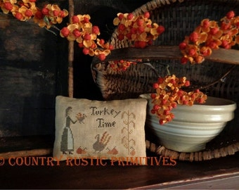 Primitive Turkey Time Thanksgiving Pillow Tuck Cross Stitch E Pattern PDF