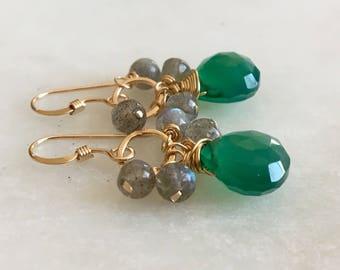 Green Onyx Earrings, Labradorite Earrings, Cluster Earrings, Gold Circle Earrings, Gemstone Earrings