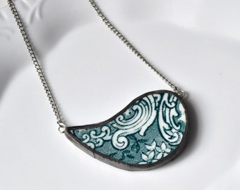 Broken China Jewelry Paisley Necklace - Green Scroll