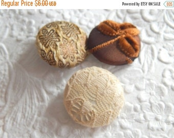 CLEARANCE 3 brown fabric cover buttons - 1 1/8 inch - size 45