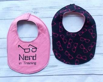 Nerd in Training Baby Bib - Nerd Baby Gift - Geek Baby Bib - Nerd Girl Gift - Computer Nerd Baby Gift - Teacher Baby Gift - Nerd Glasses