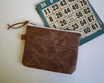 Waxed canvas - small zipper pouch -  acorn