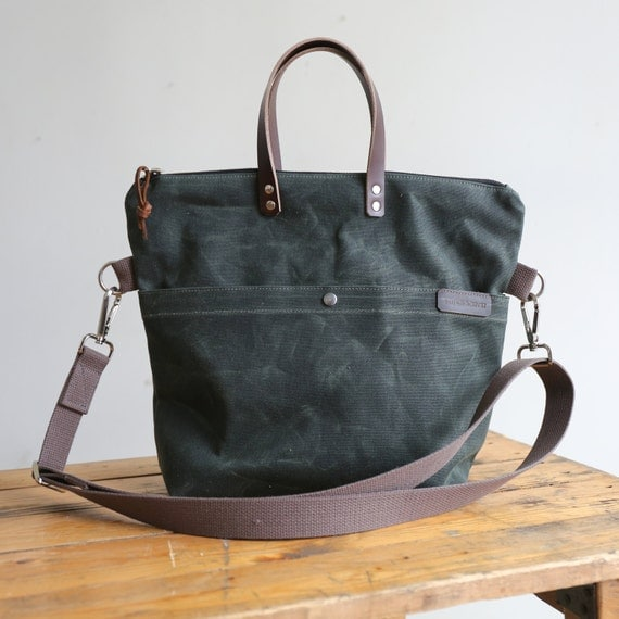 Waxed Canvas and Leather Zipper Tote/ Crossbody Zipper Tote