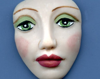 Polymer Clay  Art Doll  Green Eyed  Detailed Face Cab Un Drilled DADG 1