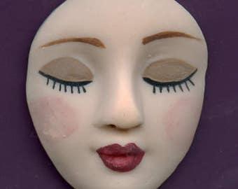 "Polymer Clay Larger  1 1/2""  Fleshtone  Detailed  Medium Angel Face Cab Un Drilled  LAF 1"