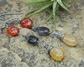 smooth amber rutile, iolite and orange chalcedony dangle earrings