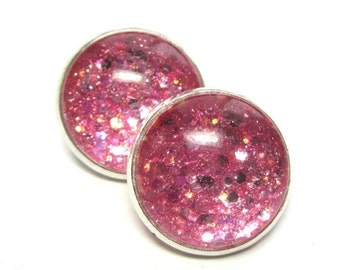 40% SALE Pink Sparkle Clip On Earrings, Pink Clip Ons, Gifts for Her, Under 25,