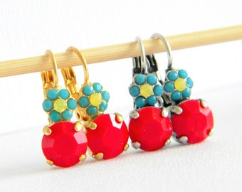 Vintage Red Turquoise Austrian Crystal Flower Drop Leverback Earrings