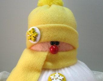 Handmade Stuffed Snowman Decoration, Christmas Holiday Decor, Snowman Christmas Ornament, Winter Decor, Yellow Fleece