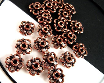 20 India Copper Spacer Beads, 10mm, Bali Style, Antiqued Copper, Solid Copper Spacers, Copper Rondelle, Floral Metal Spacer Beads  F072