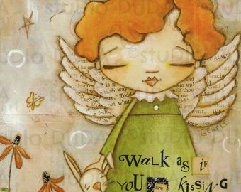 Print of my Original Mixed Media Painting - Earth Angel - 8 x 10 print