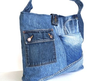 Shoulder tote bag , Recycled jean bag , Vegan denim tote purse , jean cross over purse , blue denim tote bag , reclaimed jean hobo bag